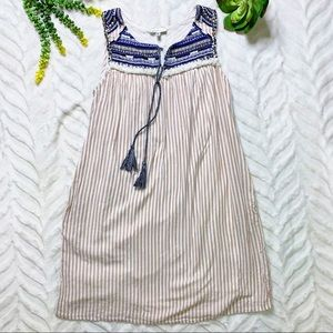 Neiman Marcus Embroidered Beaded Tan Striped Dress